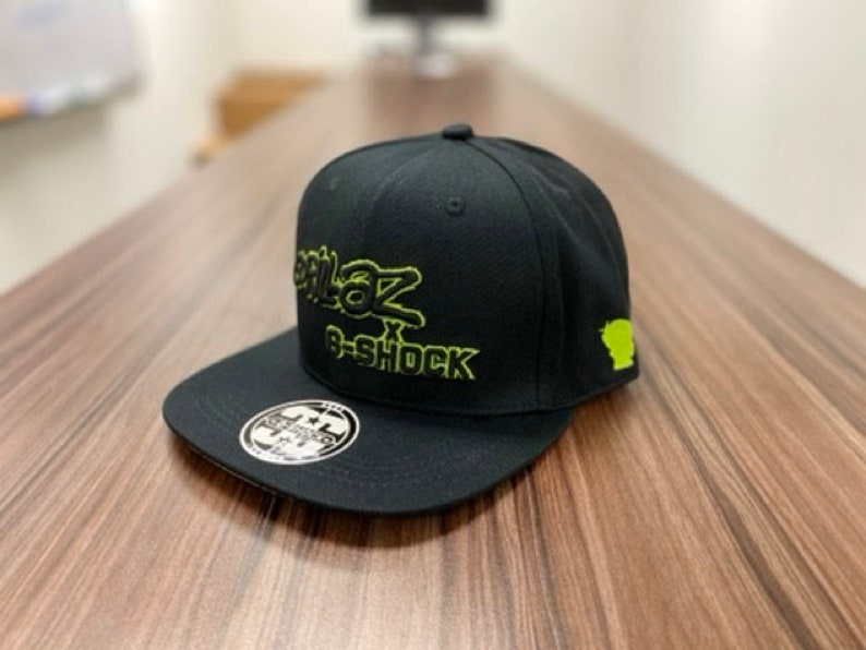 Custom G shock x Gorillaz Logo Patch Trucker Hat 3 Stripe Adjustable Snap Back Cap Retro Style Green VTG Look Baseball Cap