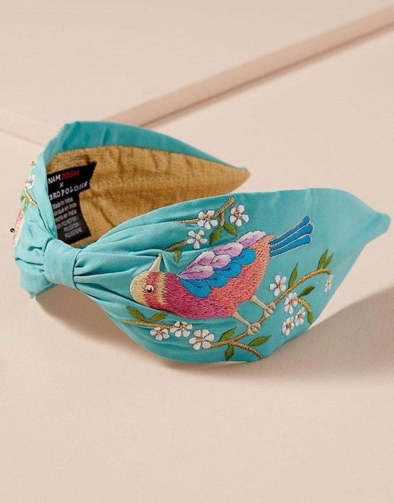 Personalized Embroidered Headband Turquoise Headband Sparrow image 0
