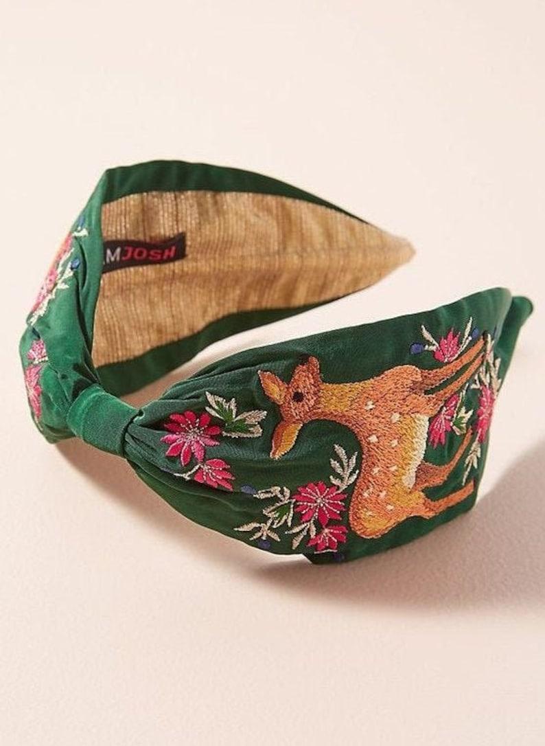 Personalized Embroidered Linen Headband Moss Green Headband image 0