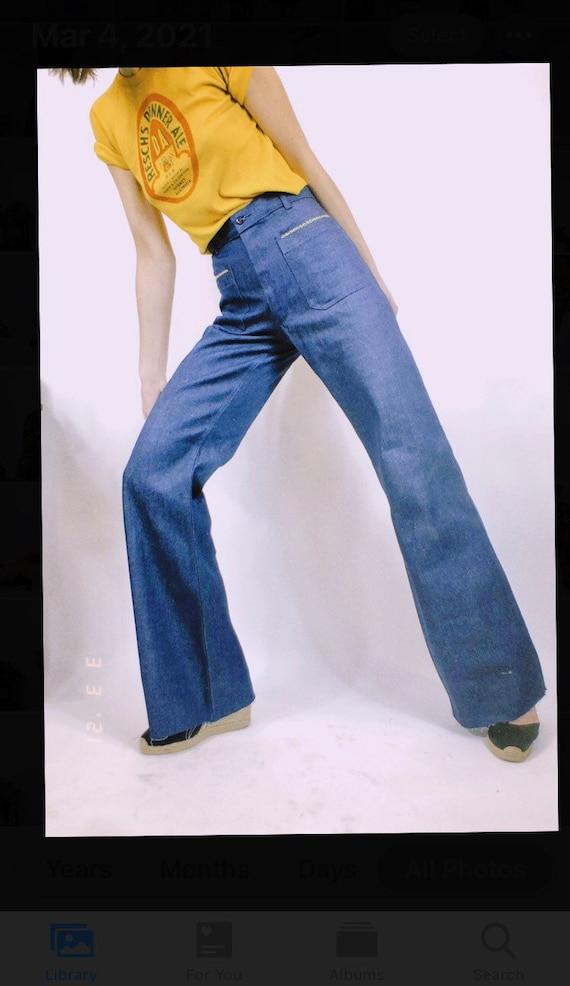 "Deadstock 70's Embroidered Flare Denim (30"" waist)"