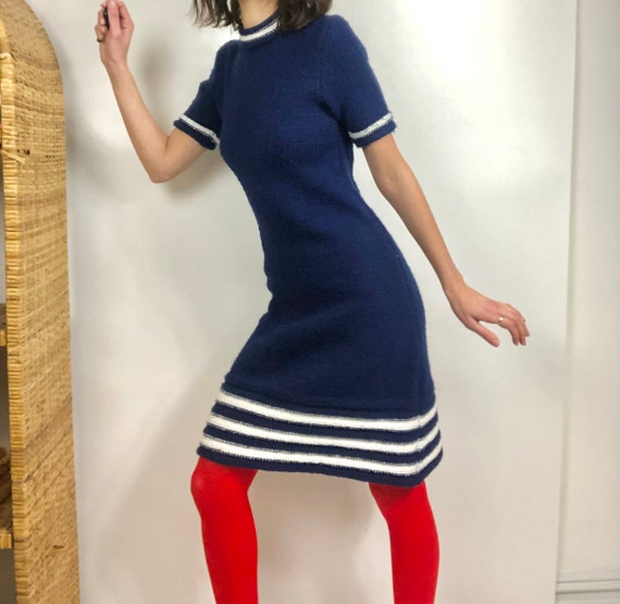 1960's Royal Blue Mock Neck Knit Dress