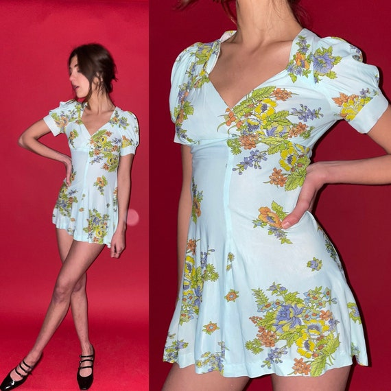 60's Mod Floral Micro Mini Dress - image 1