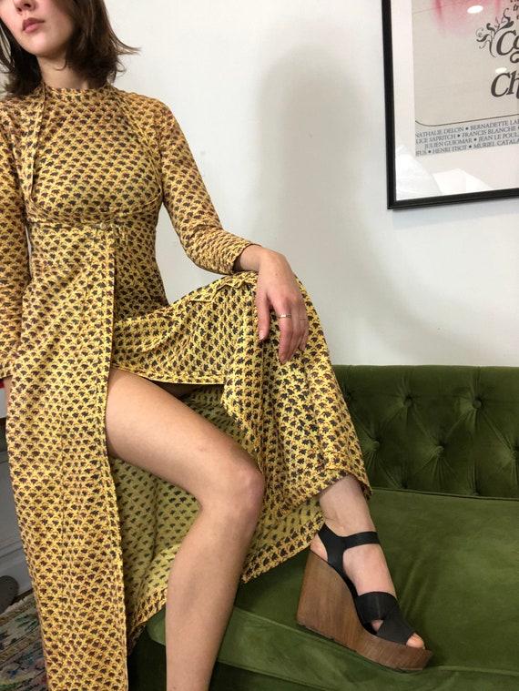 Vintage 1970s Marigold Prairie Dress