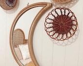 Luna Moon Shapes Rattan Mirror Cane Webbing Mirror Bamboo Wall Hanging Rattan Wall Decor