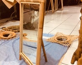 3 Legged Mirror Vintage Bamboo Rattan Mirror Standing Floor and Tabletop Handmade Natural Decorative Mirror Makeup Mirror