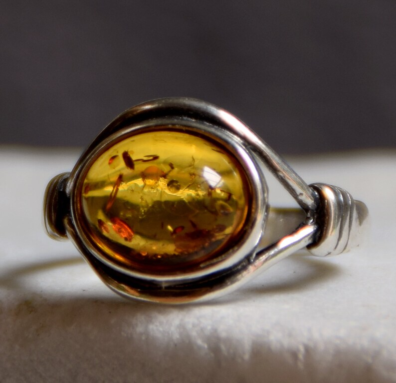 MBaltica natural amber ring Silver 925 vintage style BP022