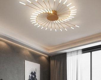 Ceiling Lamp Gold Fireworks LED flush mount Chandelier lighting vanity light semi flush unique light modern kitchen chandelier decorative
