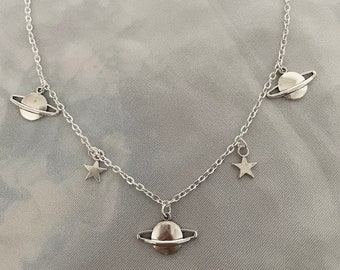 Handmade Sterling Silver Plated Space Orb Charm Necklace