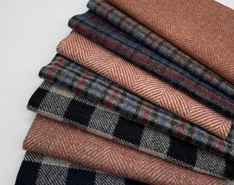 """100% Wool Tweed Fabric, Patchwork, Upholstery, Remnants. Check, Plaid Design, 8 pieces 9"""" x 9"""" Made In England"""