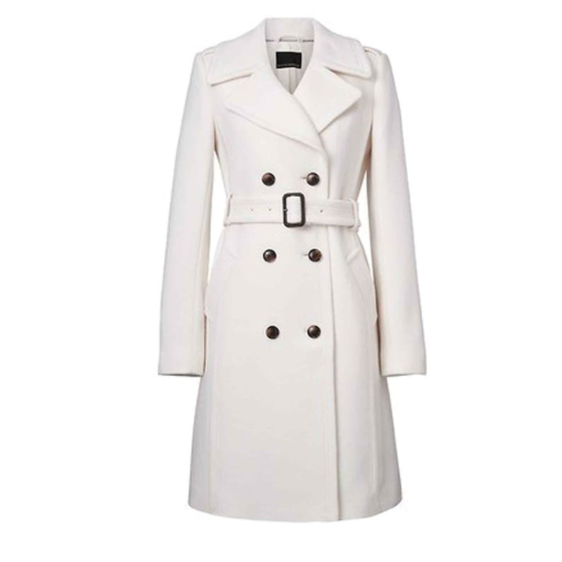 New Ladies White Long Sherpa Lined Moto Jacket Coat For Sale