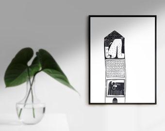 Stay home ~ Art Print ~ Illustrations by Alba Mezcua