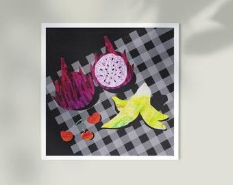 Fruity Picnic ~ Dragon Fruit, Cherry and Banana Collage ~ Mini Art Print ~ Illustrations by Alba Mezcua