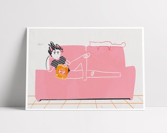 Lazy Sunday ~ Woman and Cat resting in the couch ~ Cat Lady Art Print ~ Illustrations by Alba Mezcua