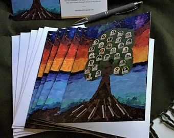 Mother Tree Greeting Cards by Leah Leach