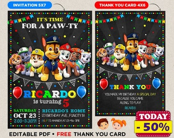 Patrol Paw Birthday Invitation For Boy and Girl Patrol Paw Birthday Party Invite Printable Birthday Invite Instant Download Thank You Card