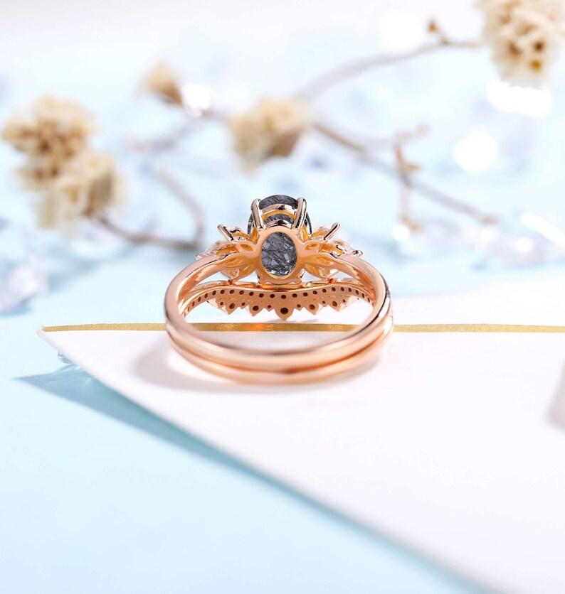 Vintage Black Rutilated Quartz Engagement Ring Rose Gold Plated Unique Black Diamond Wedding Set Half Eternity Oval cut Set Anniversary