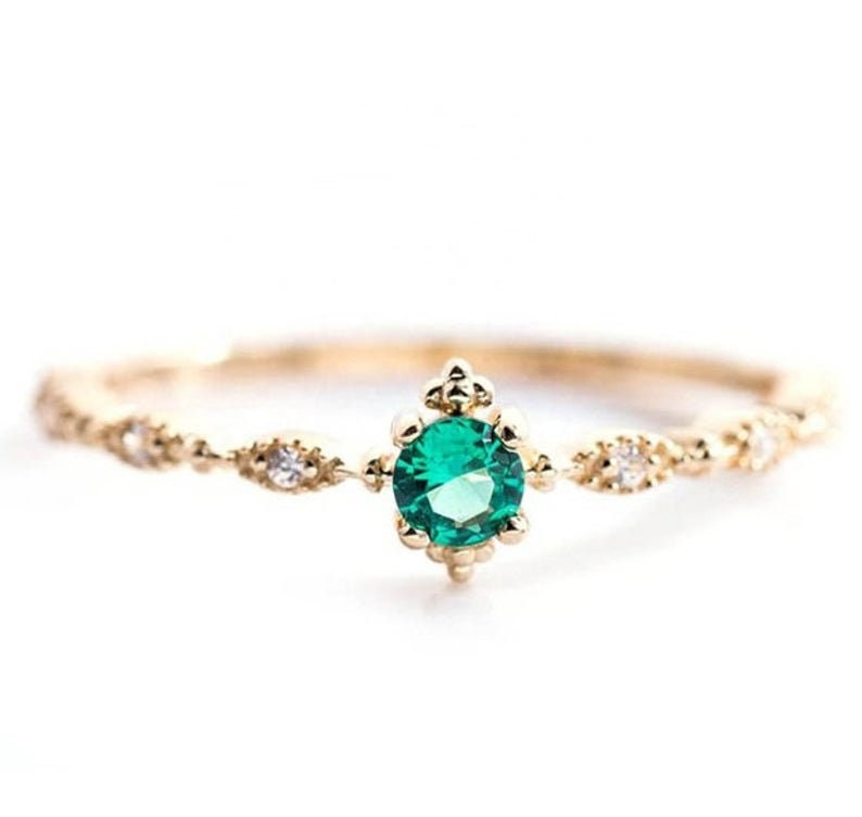 Brilliant Round Cut Green Topaz Edwardian Style Women Wedding Ring Gift for Her Promise Ring 14K Yellow Gold Over