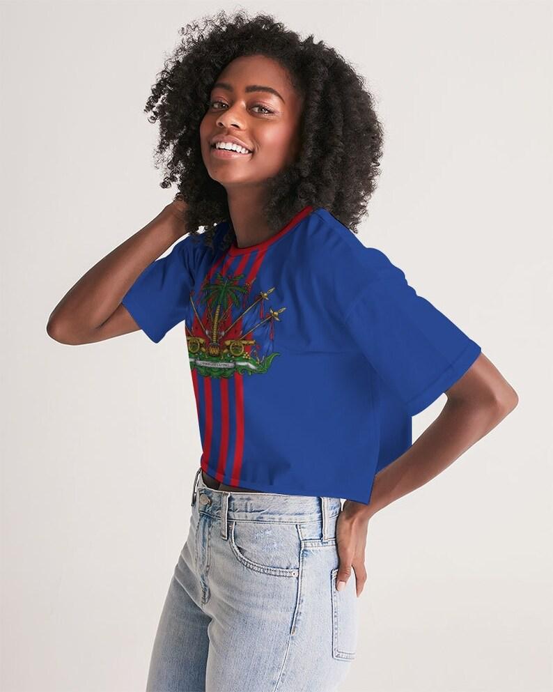 Blue Women/'s Lounge Cropped Tee Haitian Flag Shirt