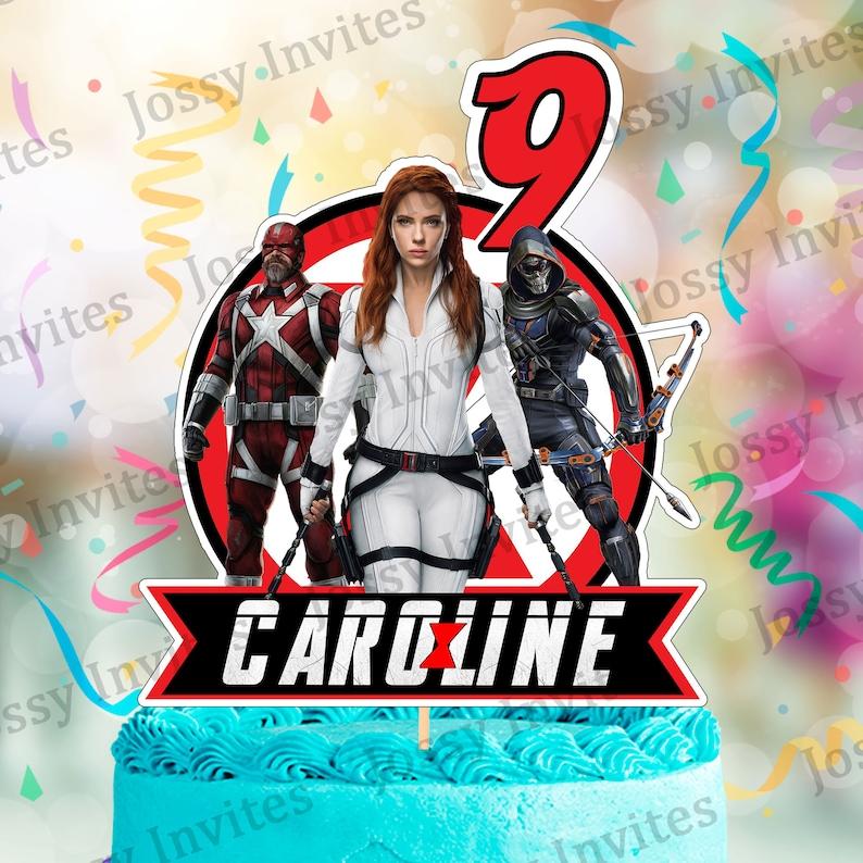 Personalized Black Widow Cake Topper Black Widow Custom Cake image 1
