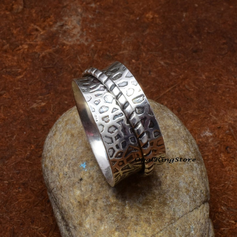 Wedding Ring Worry Ring Spinner Ring Wide Ring,Fidget Ring,Etsy Ring Women Ring 925 Sterling Silver Ring Gift For Mother