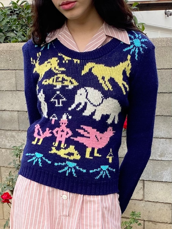 70s novelty animal pullover knitted sweater