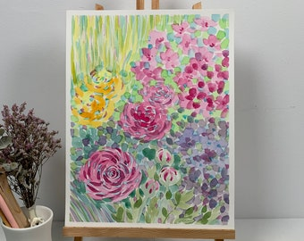Charity Cox Bouquet of Roses  Abstract acrylic original painting Summer/'s love 20x23 By