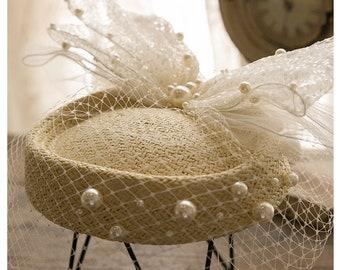 Vintage Ladies Hats Ladies Hats Dress Hats British Hats French Pearl Flat Top Dress Hats