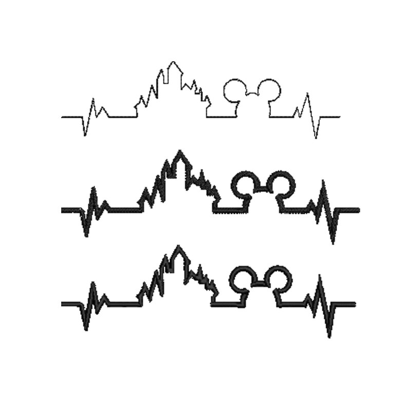 Disney inspired Heartbeat Machine Embroidery Design 9 Designs 5 Sizes Each. 3 Stitch patters each Bundle