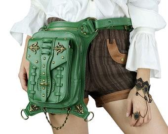 Crossbody Shoulder Bag Biker Bag Wallet Purse Removable chain Steampunk bag One of a kind Cosplay