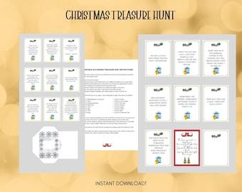 CHRISTMAS TREASURE HUNT Printable, Indoor Treasure Hunt, Christmas Game, Xmas, Christmas Family Fun, Scavenger Hunt, Family Riddles Game