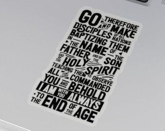 Great Commission Sticker   Bible Verse Scripture Decal for laptop, hydro flask, journal, planner   Matthew 28:16-20