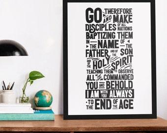 Great Commission Poster Print   Wall Art   Premium Matte Vertical Poster   Christian hang lettering, Scripture Word Art,  Matthew 24