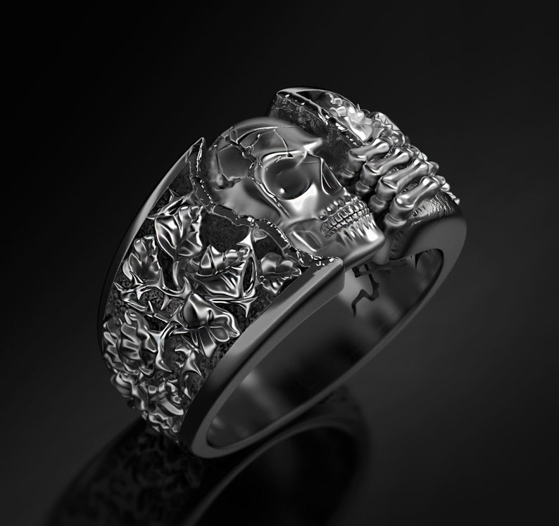 skull with nature,leaf band skull ring. 925 sterling Silver skull hand with bone band ring,gothic ring,biker ring,unique skull band ring