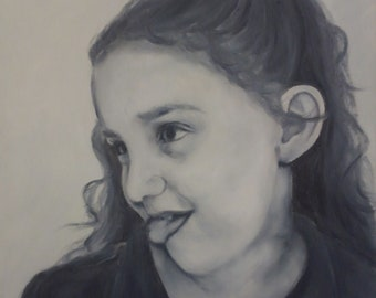 """Custom Black and White Portraits from your photo hand painted in oil on a 14"""" x 11"""" board"""