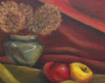Apples and Flowers - Original Oil Painting