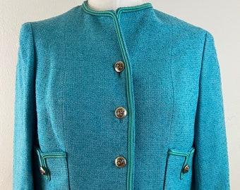 VINTAGE 62s CHANEL ADAPTATION by Buddy Bates Blazer/Jacket / Turquoise / Boucle Box Jacket / size- S