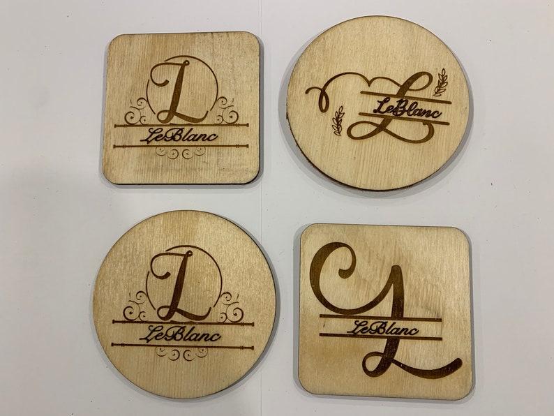 Personalized Wooden Monogram Coasters Gift Coasters Cork Backed Wood Coasters