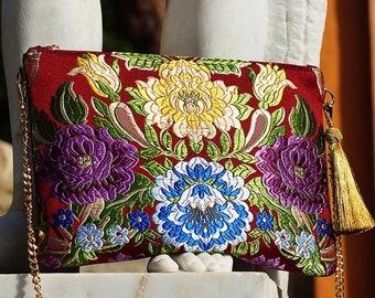 Leather & Fallera Fabric BAG ? Valencia Flores A