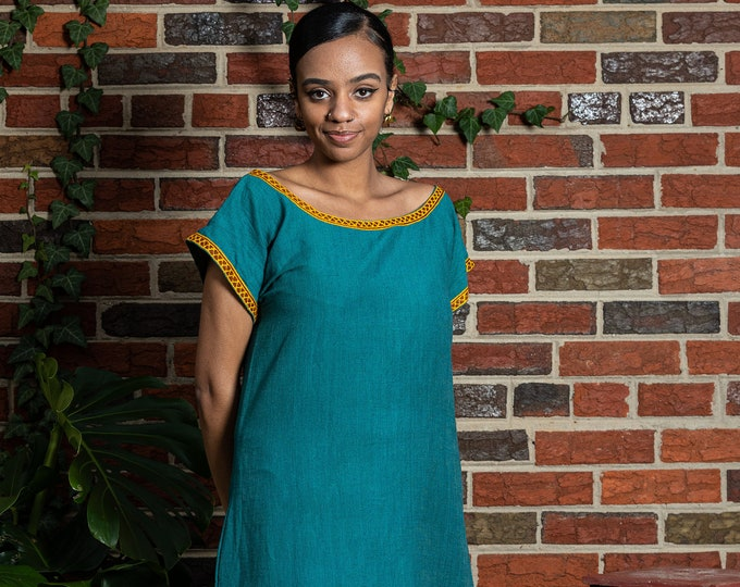 Featured listing image: Fana Maxi Cotton Tunic Dress - Teal, Red and Gold