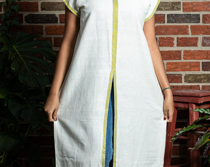 Featured listing image: Maxi Cotton Dress/Top with Large Front Slit - Beige and Yellow