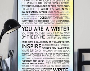 Poster Write Author Reporter Word Art//Canvas Print Home Decor Wall Art