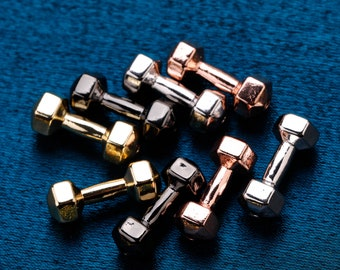 Barbell Dumbbell charms 7 x 17.5 mm 1 Pc 925 Sterling Silver Sport Dumbbells Two Holes Strap Connector Dumbbell connector