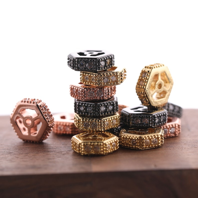 CZ Micro Pave Shamballa Hexagonal Pill Specer Charms for Bracelet Necklace 8.5*3MM
