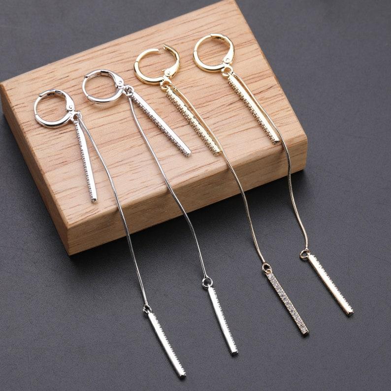 Stick Tassel Earring Beads Earring CZ Micro Pave Fashion 925 Silver Earring Dangle Drop Hoop Stud Earrings Silver Jewelry.