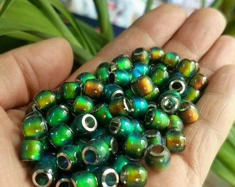 Big Hole Tube Beads Color Change Mood Cabochon For DIY Mood Rings Charms Supplies Findings 7MMΦ4MM