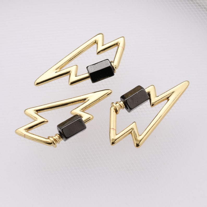 CZ Gold Micro Pave Lightning Bolt Carabiner Clasp Screw Clasp for Necklace Jewelry Findings 30*16MM