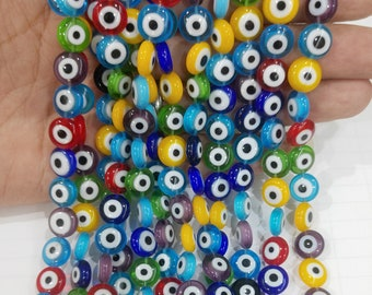 6mm to 12mm Multi Color Flat Round Body Healing Lucky Evil Eye Beads Spacer for DIY Jewelry Bracelet Earring Necklace Making
