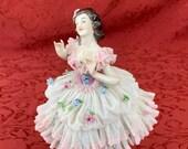Original VOLKSTEDT Rococo Graceful Ballerina - German Vintage Ceramics - Good Condition - Delicate Lace-like Porcelain, European Kitsch
