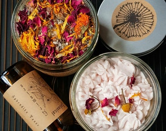 Aphrodite Trio | Botanical Skincare Gift Set | Self-care | Bath Salt Soak | Whipped Body Butter | Facial Toner | by A Botanical Grimoire