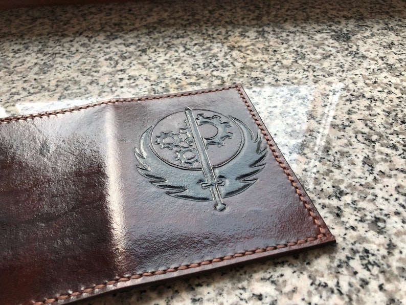 Brotherhood Of Steel Inspired Handcrafted Leather Passport Cover Fallout Inpired Leather Gift Brotherhood Handmade Leather Passport Case